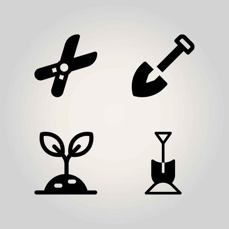 Boerderij vector icon set. snoeischaar, spruit en schop