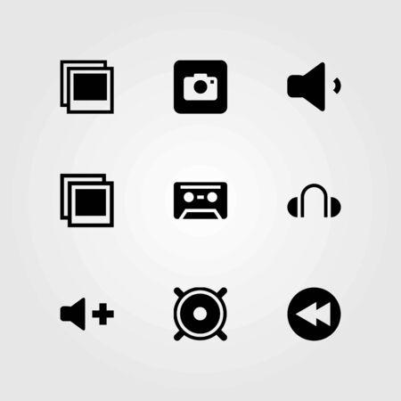 Multimedia vector icons set. speaker, volume and rewind Ilustração