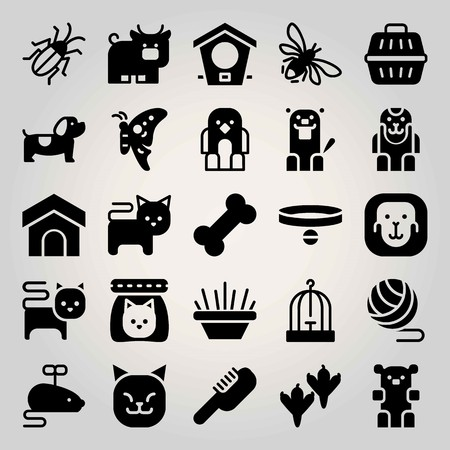 Animals vector icon set. kitten, bowl, bull and ball Stock Illustratie