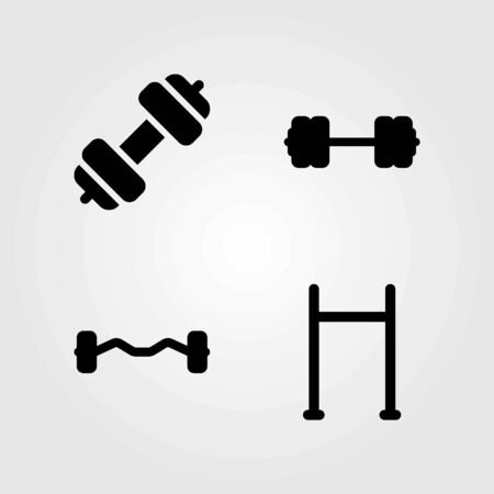 Fitness vector icons set. dumbbell, biceps dumbbell and pull up bar