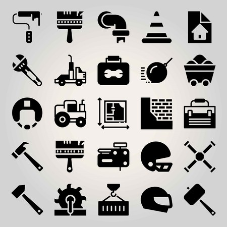 Construction vector icon set. tractor, brickwall, toolbox and blueprint
