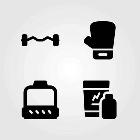 Fitness vector icons set. glove, dumbbell and boxing