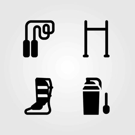 Fitness vector icons set. pull up, pull up bar and shinpad
