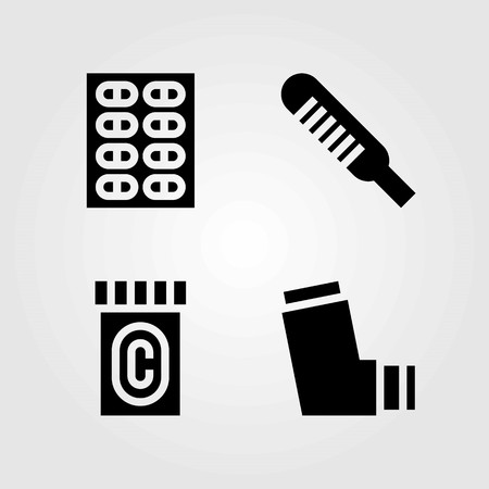 Medical vector icons set. pills, thermometer and inhaler