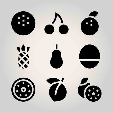 Fruits vector icon set. quince, coconut, tangerine and grapefruit