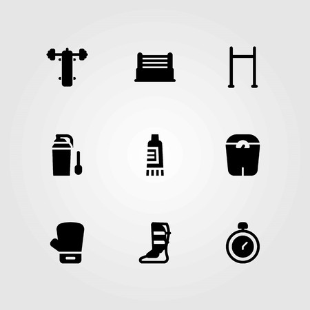 Fitness vector icons set. shinpad, bench press and pull up bar