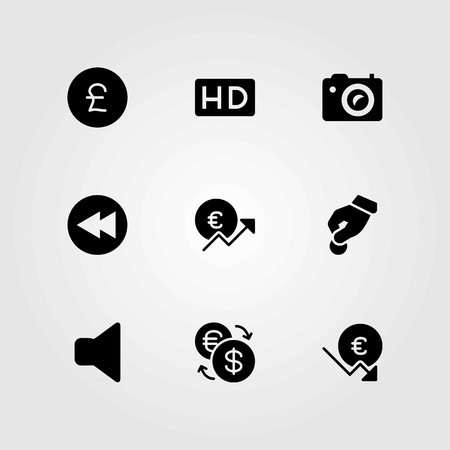 Buttons vector icons set. hd, rewind and donate Illusztráció