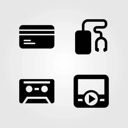 Technology vector icons set. credit card, movie player and music player