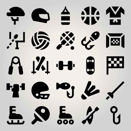 Sport vector icon set. gate, dumbbell, tennis and weightlifting