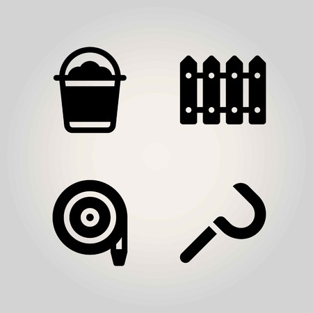 Agriculture vector icon set. bucket, fence, sickle and hose