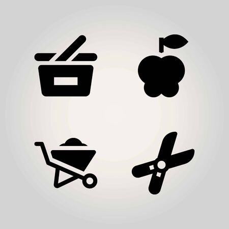 Boerderij vector icon set. snoeischaar, kruiwagen, appel en winkelmandje