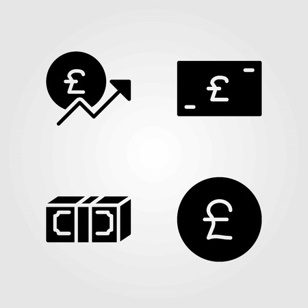 Bank vector icons set. pound sterling, money and dollar Illusztráció