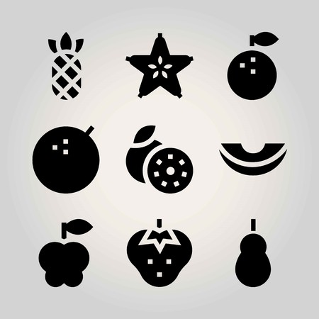 Fruits vector icon set. pineapple, lime, quince and strawberry Illustration