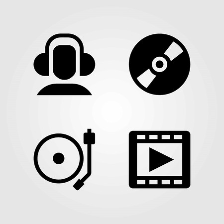 Multimedia vector icons set. turntable, compact disc and headphones Çizim