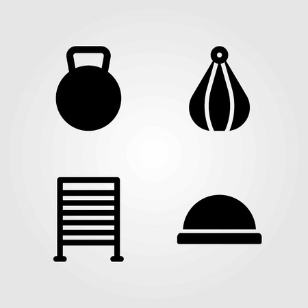 Fitness vector icons set. ball, gym bars and bosu ball Illusztráció