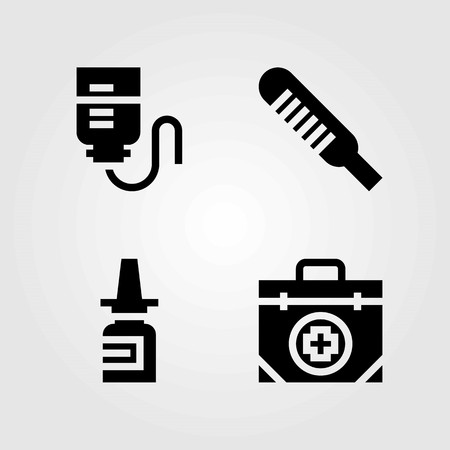 Medical vector icons set. drop counter, first aid kit and nasal spray