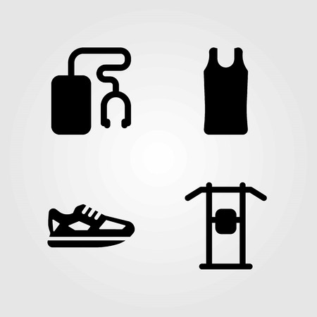 Fitness vector icons set. pull up, music player and sport shirt