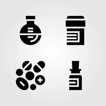 Medical vector icons set. flask, medicine and pills