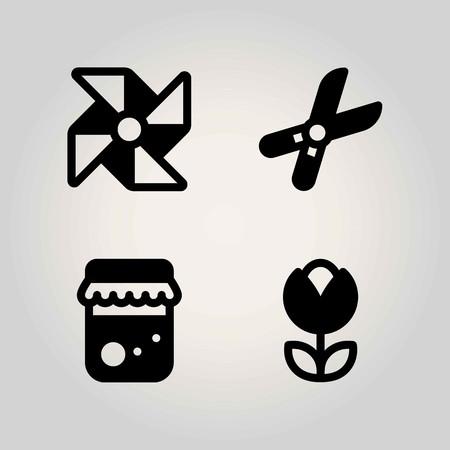 Boerderij vector icon set. honing, pinwheel, snoeischaar en tulp Stock Illustratie