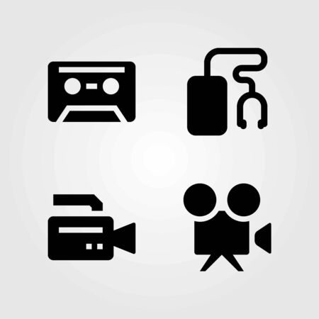 Technology vector icons set. music player, cassette and video camera