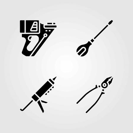 도구 벡터 아이콘을 설정합니다. 밀봉 제 총, 펜치 및 스크루 드라이버