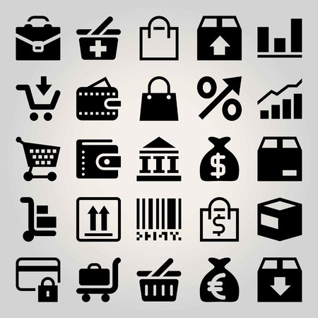 Business vector icon set. credit card, brief, shopping bag and bar code Illusztráció