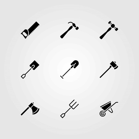 Garden vector icons set. handsaw, shovel and wheelbarrow