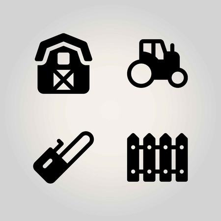 Farm vector icon set. tractor, barn, fence and chainsaw Illustration