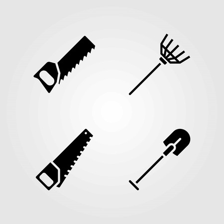 Garden vector icons set. shovel, handsaw and rake