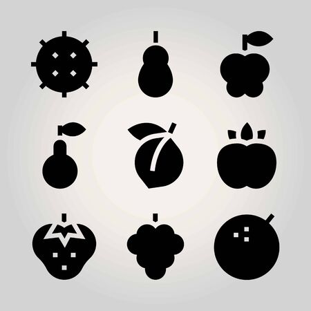 Fruits vector icon set. apple, strawberry, pear and lime