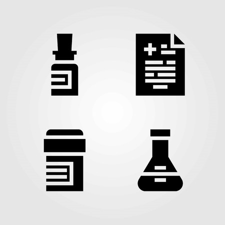 Medical vector icons set. medical result, flask and pills 向量圖像