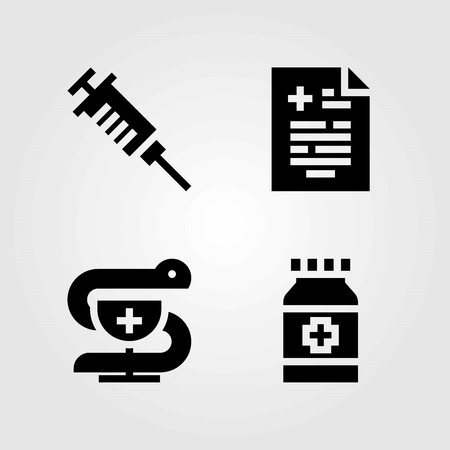 Medical vector icons set. medical result, pharmacy and medicine