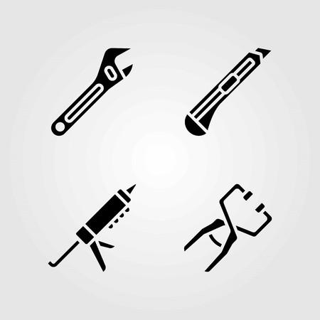 Tools vector icons set. cutter, sealant gun and clamp