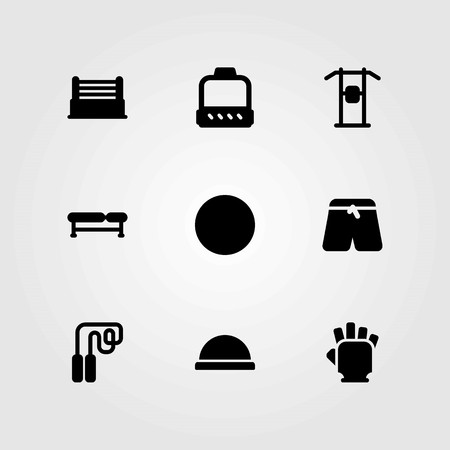 Fitness vector icons set. pulley, gloves and pants Illustration