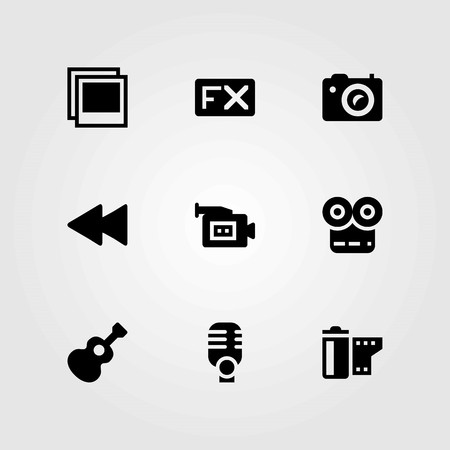 Multimedia vector icons set. photo, rewind and microphone