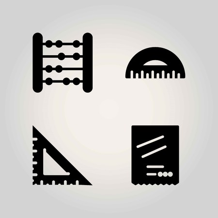 School vector icon set. protractor, degree and set square