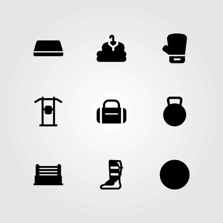 Fitness vector icons set. shinpad, clothing and glove Illustration
