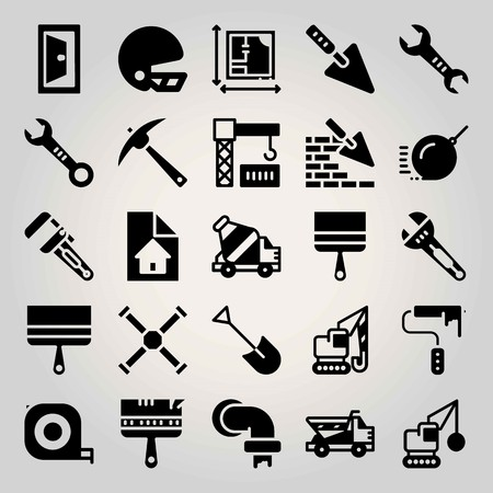 Construction vector icon set. trowel, measuring tape, demolition and paint brush