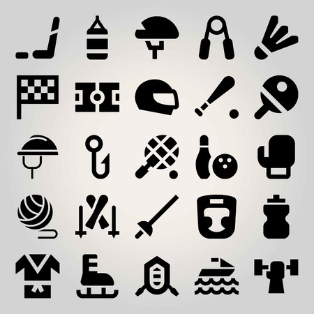 Sport vector icon set. field, boxing, bottle and fishing Illustration
