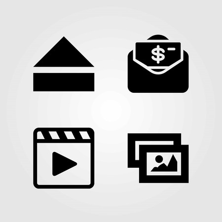 Buttons vector icons set. picture, movie player and eject Illustration