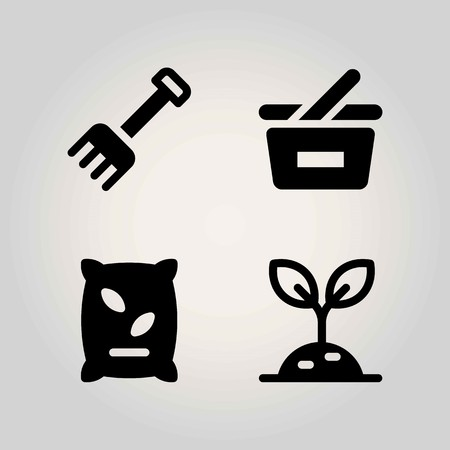 Agriculture vector icon set. rake, basket, fertilizer and shopping basket