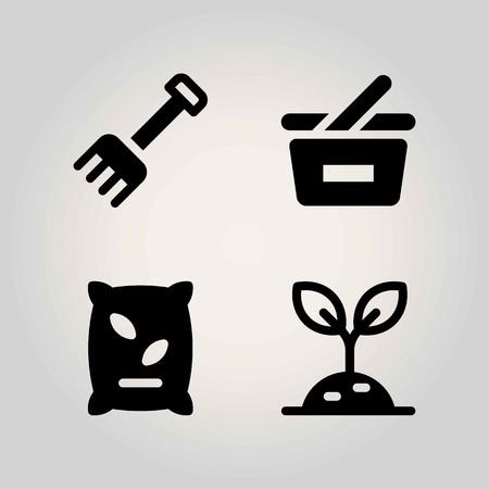 Agriculture vector icon set. rake, basket, fertilizer and shopping basket