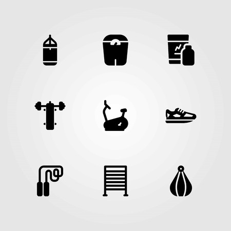 Fitness vector icons set. gym bars, running and punching bar