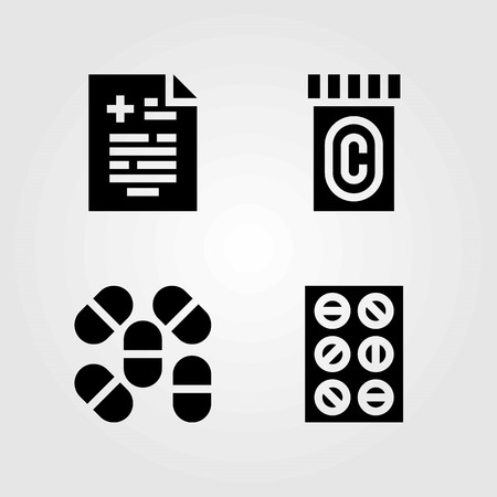 Medical vector icons set. medical result, pills and tablets