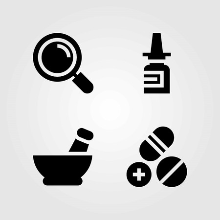 Medical vector icons set. mortar, pills and loupe Illustration