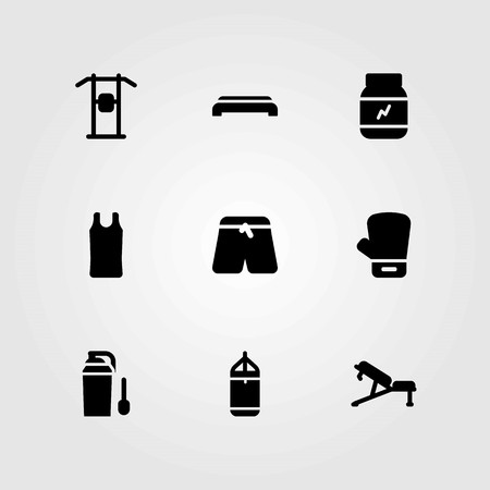 Fitness vector icons set. pull up, boxing and pants