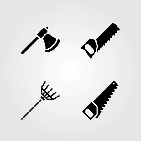 Garden vector icons set. axe, rake and handsaw