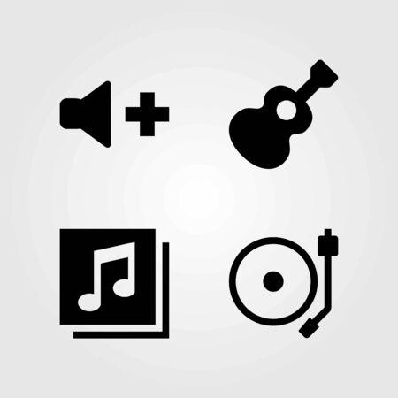 Multimedia vector icons set. quaver, guitar and volume