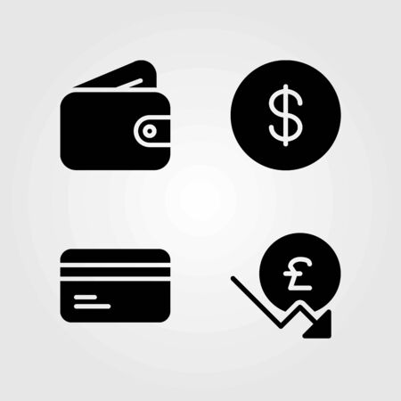 Money vector icons set. coin, dollar coin and credit card