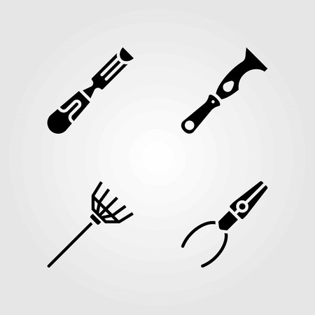 Tools vector icons set. scraper, rake and pliers